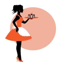 female silhouette wearing an apron and carrying a vector image
