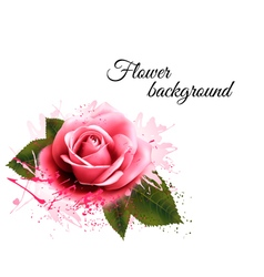 Flower background with a pink rose vector image