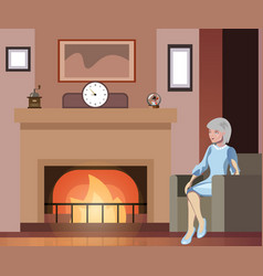 Grandmother sits in a chair near the fireplace vector