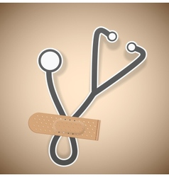 Plaster and stethoscope vector image vector image