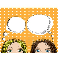 two girls popup style vector image