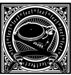 black and white Dj player vector image vector image