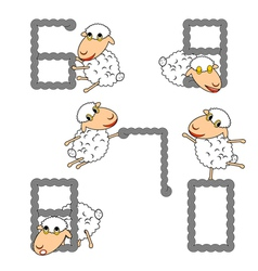 Design numbers set with funny cartoon sheep vector image vector image