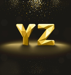 Golden Lowpoly Font from Y to Z vector image