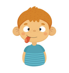 silly cute small boy with big ears and tongue out vector image