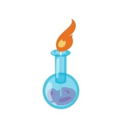 Chemical flask with flame icon cartoon style vector image vector image