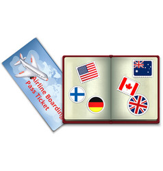 Open Passport and Airline Boarding Pass Ticket vector image vector image