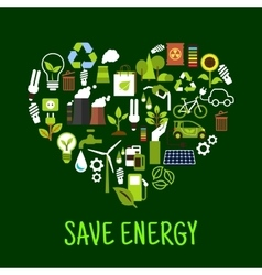 Save energy concept icons in shape of heart vector image