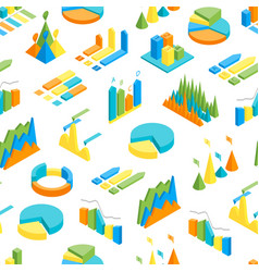 charts and graphs seamless pattern background 3d vector image vector image