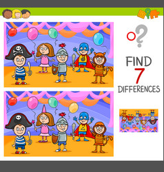 differences game with kids on masked ball vector image vector image