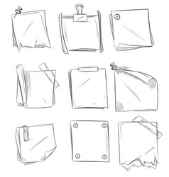 doodle memo hand drawn notepaper art school vector image