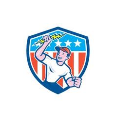 Electrician Lightning Bolt USA Flag Cartoon vector image