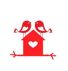 love cute birds and birdhouse - card for vector image