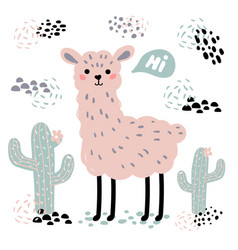 pink cartoon lama alpaca cactuses and hi text vector image vector image