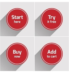 Red round flat web buttons set vector image