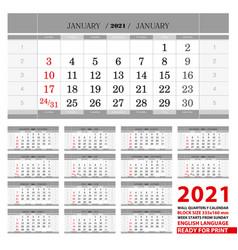 2021 wall calendar in english languages week vector