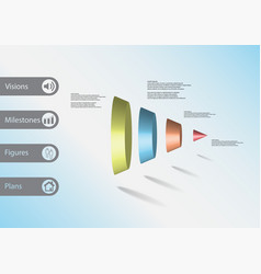 3d infographic template with cone vertically vector image