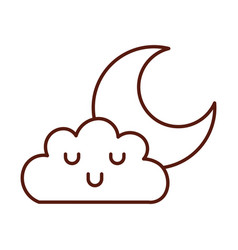 Beautiful fantasy cloud with moon kawaii character vector