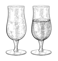 beer glass full and empty set hand drawn sketch vector image