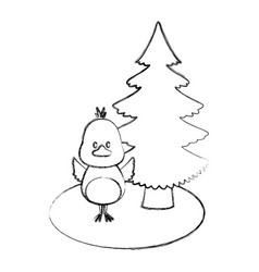 bird with christmas tree vector image