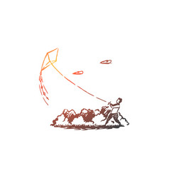 boy kite park sky happy concept hand drawn vector image