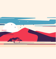 bright sunrise over desert sand dunes vector image