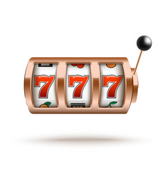 bronze slot machine with lucky combination of vector image
