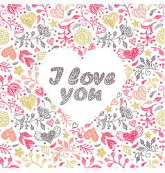 card with hand drawn flowers and hearts vector image