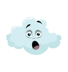 cartoon cloud with a face for vector image