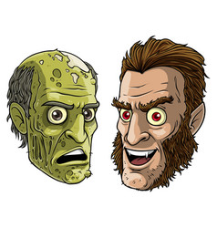 cartoon funny green zombie monster and werewolf vector image