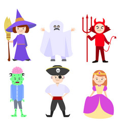 cartoon halloween kids costumes set vector image