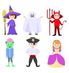 Cartoon halloween kids costumes set vector