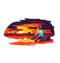 Character sit near fire in savanna vector