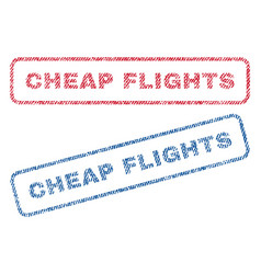 Cheap flights textile stamps vector