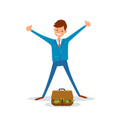 cheerful worker get bag full of money manager suit vector image