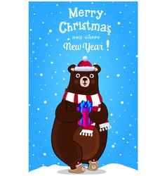 christmas new year greeting card of cartoon bear vector image