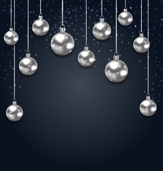 Christmas silver glassy balls on magic dark vector