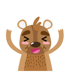 Colorful adorable and glad bear wild animal vector