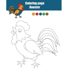Coloring page with rooster Educational game vector image