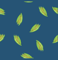 coloured corn seamless blue pattern vector image