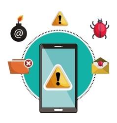 Concept virus smartphone warning design vector