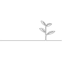 continuous one line growing sprout ecology vector image