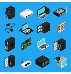 Data Center Server Equipment Icons Set vector