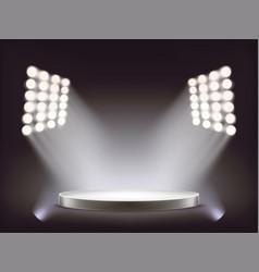 Empty round white podium illuminated spotlights vector