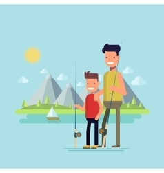 Father and son going fishing Happy child spends vector