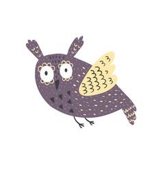 flying fantasy owl isolated element on white vector image