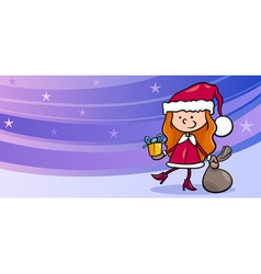 girl santa greeting card cartoon vector image