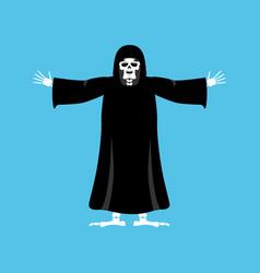 grim reaper happy death merry skeleton in black vector image