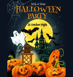 Halloween horror party poster for autumn holiday vector
