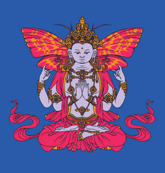 hand drawn krishna meditating in lotus pose vector image